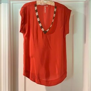 Coral 100% silk shirt with beading